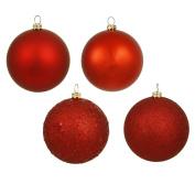 Vickerman 4-Piece Assorted Finish Ornament, 7.6cm , Red, 16 Per Box