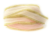 Frozen Rose Handmade Silk Ribbon - Pink and Off- White with Gold Edges