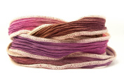 Berry Blossom Handmade Silk Ribbon - Berry Pink, Brown with Creme Edges