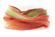 Coral Blossom Handmade Silk Ribbon - Coral, Khaki, Beige with Coral Edges