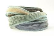 Mediterranean Bliss Handmade Silk Ribbon - Blue, Tea Beige, Lavender with Blue Edges
