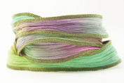 Pastel Prism Handmade Silk Ribbon - Pink, Light Green,yellow, Blue with Brown Edges