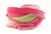 Lime Pink Handmade Silk Ribbon