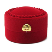Red Velvet Round Shape Ring Earrings Jewellery Box Gift Box by 24/7 store