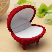 Red Shell Shape Velvet Ring Earrings Pendant Gift Box Jewellery Case by 24/7 store