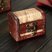 Retro Vintage Stamp Wooden Jewellery Storage Box Case Metal Lock by 24/7 store