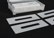 """57mm x 19mm CERAMIC Slotted Slitter Blades (.4mm thick) """"slotted slitters"""" - double edged"""