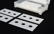 "43mm x 22mm CERAMIC 3-hole Slitter Blades (.3mm thick) ""3-hole slitters"" - double edged"