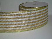 Gift Wrapping, Christmas Ribbon Wired Edge Whte/Gold Stripes -27cm X 10 YARDS