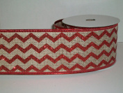 Gift Wrapping, Christmas Ribbon Wired Edge Natural Ribbon/Red Glitter Chevron pattern -27cm X 10 YARDS