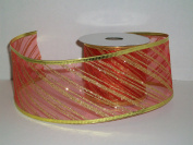 Gift Wrapping, Christmas Ribbon Wired Edge Organza Nylon RED/GOLD STRIPE -27cm X 10 YARDS