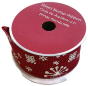 Holiday Christmas Red Snowflake Wired Burlap Ribbon Spool - 6.4cm x 4.6m
