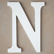 "The Lucky Clover Trading ""N"" Wood Block Letter, White"