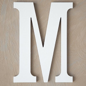 "The Lucky Clover Trading ""M"" Wood Block Letter, White"