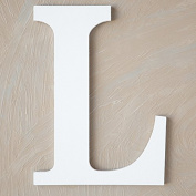 "The Lucky Clover Trading ""L"" Wood Block Letter, White"