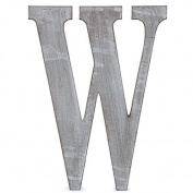 "The Lucky Clover Trading ""W"" Wood Block Letter, Charcoal Grey"
