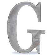"""The Lucky Clover Trading """"G"""" Wood Block Letter, Charcoal Grey"""
