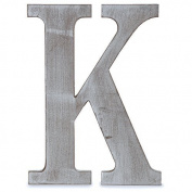 "The Lucky Clover Trading ""K"" Wood Block Letter, Charcoal Grey"