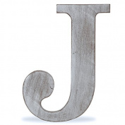 "The Lucky Clover Trading ""J"" Wood Block Letter, Charcoal Grey"