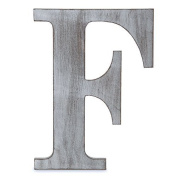 "The Lucky Clover Trading ""F"" Wood Block Letter, Charcoal Grey"