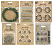 Tim Holtz Idea-ology Holiday - Wreaths, Metallic Trimmings, Boxwood Twine,Typed Christmas Tokens, Snowflake Adornments & Jump Rings