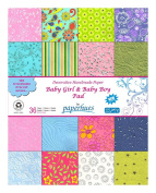 Paperhues Baby Girl & Baby Boy Scrapbook Paper Pad 36 Sheets, 22cm x 28cm . 'Little Angels' Specialty Decorative Paper Pad for Birthday Scrapbook, Cards, Announcements, Gift Wrap, Decor, Art Craft, Origami