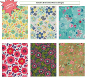 Birthday or All Occasion Flower Gift Wrap Wrapping Paper for Women, Girls, Kids 6 Different Designs of 2.4m X 80cm Rolls / Per Pack Set Included! Medium Weight Paper