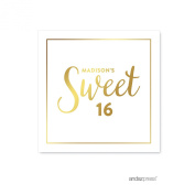 Andaz Press Personalised Square Birthday Favour Gift Labels Stickers, Metallic Gold Ink, Sweet 16 Birthday, 40-Pack, Custom Made Name