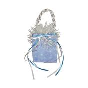 "Miniature Music Box Mini Gift Bag - Blue Christmas Holiday print, song ""Let It Snow!"""