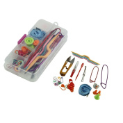 CrazyPiercing Basic Sewing Knitting & Crochet Tools Accessories Supplies with Case Knit Kit Lots in Random Colour