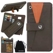 Galaxy Note 5 Case, DRUnKQUEEn Premium Leather Wallet Case Cover Stand Kickstand Magnetic Detachable Purse Card Holder Compartment Pocket with Lanyard Wrist Strap for Samsung Galaxy Note5 N920