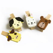 Blancho Bedding WC002-A Cute Animals-1 - Wooden Clips - Wooden Clamps - Mini Clips