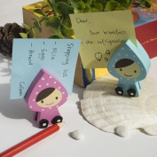 Blancho Bedding CH002-PIBL Happy Doll - Card Holder - Wooden Clips - Wooden Clamps - Animal Clips