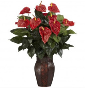 Nearly Natural 6666 80cm . H Red Anthurium with Vase Silk Plant