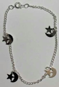 AzureGreen JASTA Silvertone Anklet With Stars and Moons