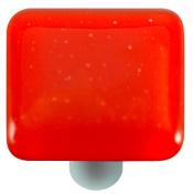 Hot Knobs HK1002-KA Tomato Red Square Glass Cabinet Knob - Aluminium Post