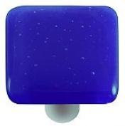 Hot Knobs HK1030-KA Deep Cobalt Blue Square Glass Cabinet Knob - Aluminium Post