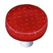 Hot Knobs HK1200-KRA Bubbles Red Round Glass Cabinet Knob - Aluminium Post