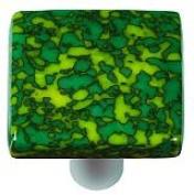 Hot Knobs HK8051-KB Granite Sunflower Yellow & Jade Green Square Glass Cabinet Knob - Black Post