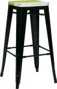 Avenue 6 Office Star BRW31303A4-C307 Bristow 80cm . Antique Metal Barstool with Vintage Wood Seat Black Finish Frame & Pine Alice Finish Seat 4 Pack