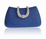 Womens Hard Handle Clutch for Wedding and Party- Pulama® Glitter Purse with Rhinestone Clasp