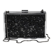 Paul Peugeot 3D Black Crystal Clustered Evening Clutch Bag in Gun Plated Finish