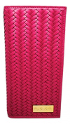 Women's Pink Bifold Premium Leather Wallet By Royalty Leathers With RFID Blocking Protection & Chevron Hand Woven Design