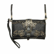 Rhinestone Metal Buckle Crocodile Leather Women's Multi-way Wallet and Texas West Coin Collection in 7 Colours
