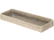 La Jolla Elongated Rattan Vanity Tray, White Wash