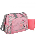 """Tender Kisses """"Zebra Baby"""" Nappy Duffle Bag with Changing Pad - grey/pink, one size"""