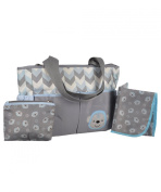 """Tender Kisses """"Zigzag Monkey"""" Nappy Tote with Dirty Duds Pouch & Changing Pad - grey/blue, one size"""