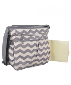 "Baby Essentials ""Zigzag Vibrations"" Nappy Tote Bag with Changing Pad - grey/white, one size"