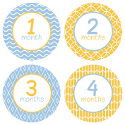 Baby Monthly Stickers . Pattern - Baby Boy Milestone Onesie Stickers - 1-12 Months - Pinkie Penguin