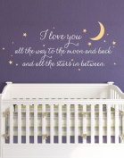 I Love You All The Way Quote Lettering Wall Decal - by Simple Shapes ®